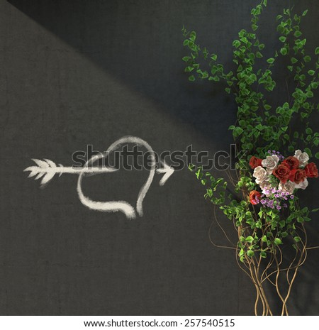 flowers and plants holiday concept with heat picture on wall  - stock photo