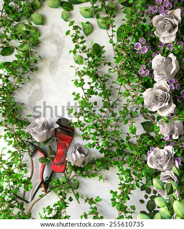 flowers and plants holiday sale concept background with shoes - stock photo