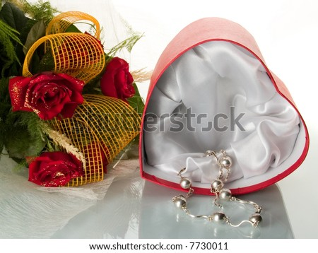 flowers and present - stock photo