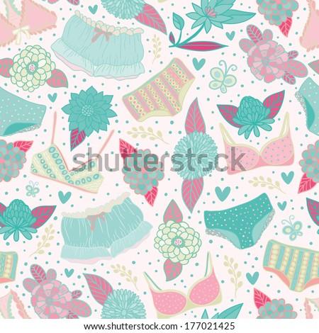Flowers and underwear gentle seamless pattern. Raster version. - stock photo