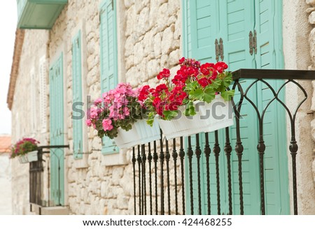 Flowers and Windows in Alacati, Turkey