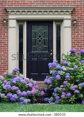 flowers around a fancy door - stock photo