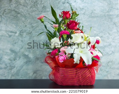 flowers arranged on table - stock photo