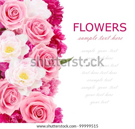 Flowers background with peonies, tulips and roses isolated on white with sample text - stock photo
