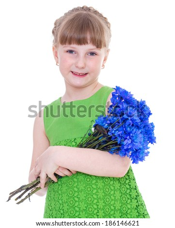 flowers, beauty, girl, child-Little girl holding bunch of flowers.Isolated on white background.