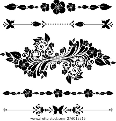 Flowers borders. Collection of design elements isolated on White background. illustration - stock photo