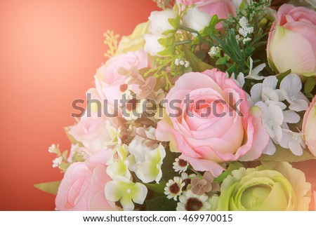 flowers bouquet arrange for decoration in home, vintage style