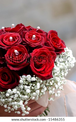 flowers bouquet marriage on neutral background - stock photo