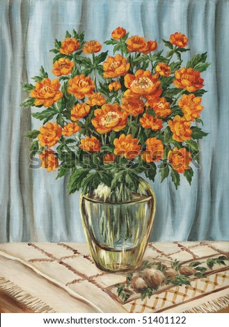 Flowers, bouquet of trollius in a glass vase. Picture oil paints on a canvas