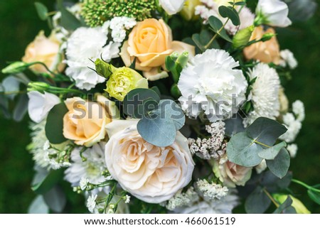 Flowers compositions arrange for decoration in restaurant. Close up. Wedding concept. Selective focus
