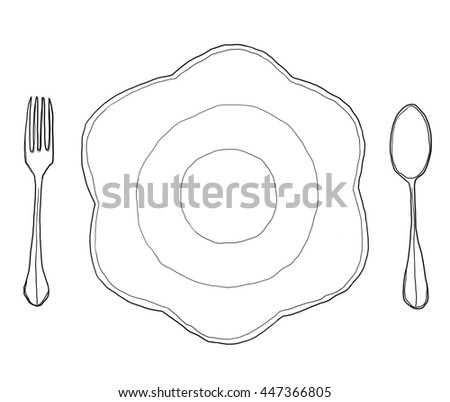 flowers dish plate Shape  and  fork spoon hand drawn line art cute illustration - stock photo