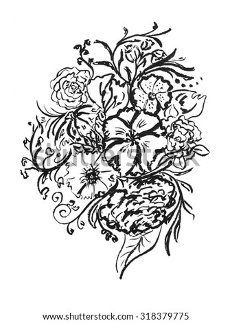 Flowers, drawn in ink. Vintage elegant style. The thin smooth lines. Template for greeting card. Black and white
