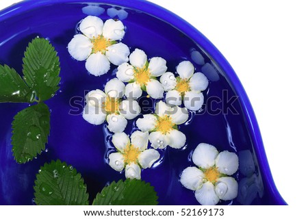 flowers floating on water in a blue bowl