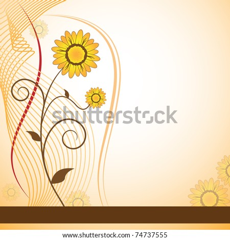 Flowers for mothers day, anniversary or birthday. Orange daisies. Copy space for text. Vector also available.