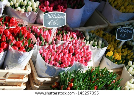 Flowers for sale in Amsterdam - stock photo