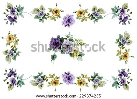 flowers frame - stock photo