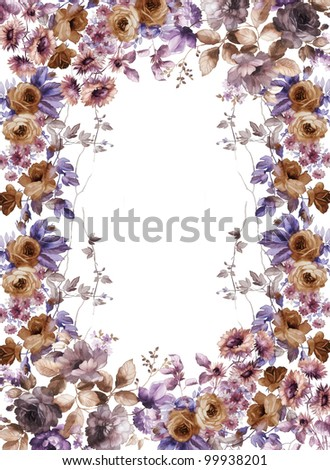 flowers frame in white background - stock photo