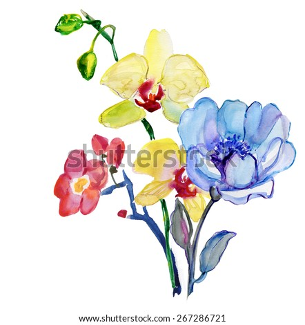 Flowers . Garland, Watercolor hand painted illustration. - stock photo