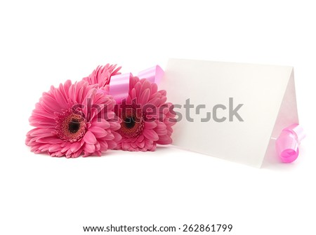 Flowers Gerbera, ribbon and a blank white card, isolated on a white background - stock photo