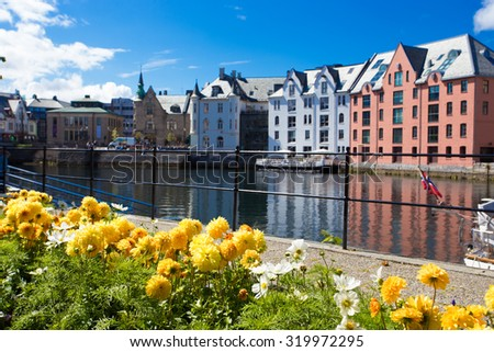 flowers growing at the streets of famous norwegian town Alesund - stock photo