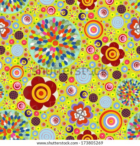 Flowers, hand made floral composition. Abstract elegance seamless pattern with acrylic paint texture. Raster.