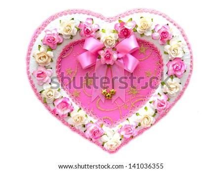 Flowers Heart Over White - stock photo