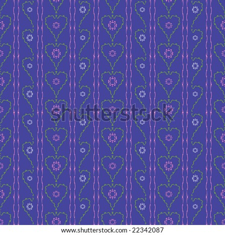 Flowers hearts seamless pattern-raster version - stock photo