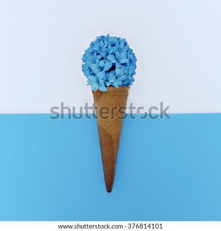 Flowers Ice Cream. Art design. Minimalism style. - stock photo