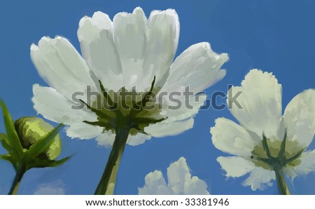 Flowers in a blue sky - stock photo