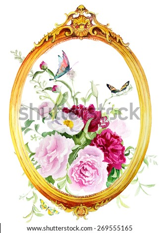 flowers in a frame - stock photo