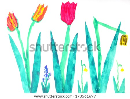Flowers in a multi-colored childrens drawings - stock photo