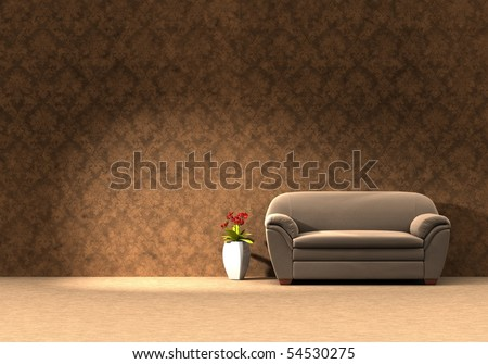 Flowers in a vase beside leather sofa - Three dimension illustration