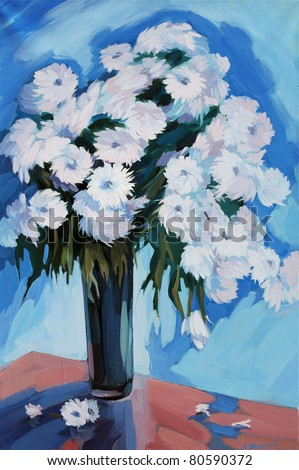 flowers in a vase drawn by oil on a canvas,  reproduction,  illustration