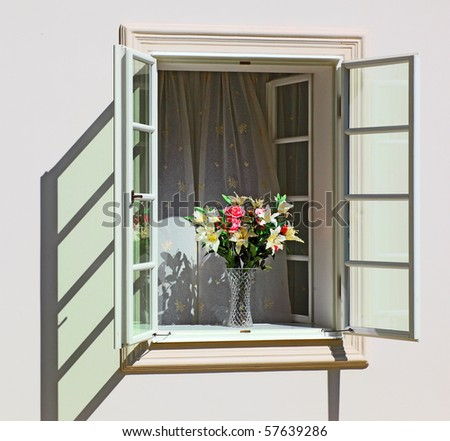 flowers in an open country window - stock photo