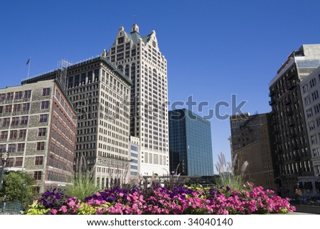 Flowers in downtown Milwaukee, Wisconsin. - stock photo