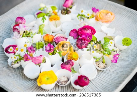Flowers in egg shells on a plate - stock photo