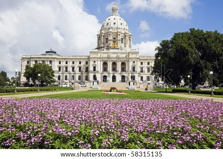 Flowers in front of State Capitol of Minnesota in St. Paul. - stock photo