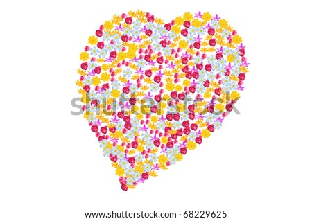 flowers in heart style  on white background