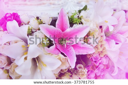 Flowers in pastel styles.Background of Beautiful flower decoration. Process with filter soft tone. Selective focus.