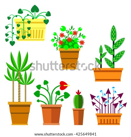 Flowers in pots. Collection flowers in flat style. Set of flat flowers on white background. Flowers icon illustration. Green flowers raster copy. - stock photo