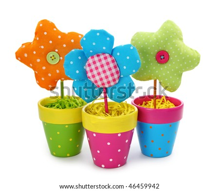 Flowers in pots isolated on white background - stock photo