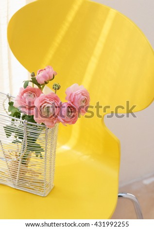 flowers in vase contemporary interior