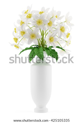 flowers in vase isolated on white background. 3d illustration - stock photo