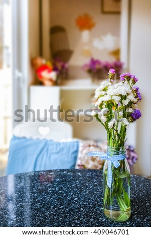 Flowers in vase on table decoration