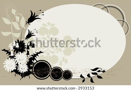 Flowers, leaves and ferns over gray background.