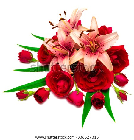 Flowers lilies and roses isolated on white background. Holiday card of beautiful flowers - stock photo