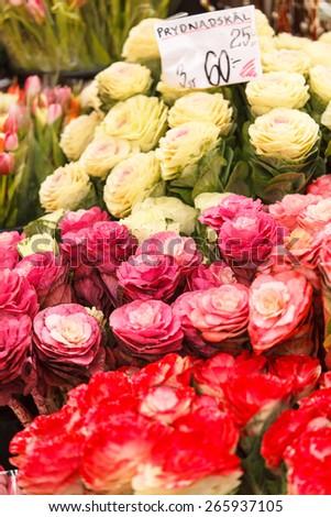 flowers market - stock photo