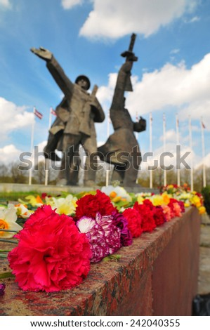 Flowers nearest the monument - stock photo