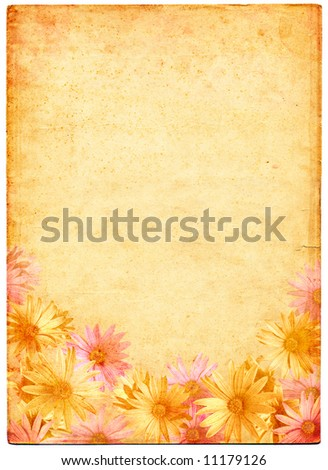 Flowers on a background of aged and mottled paper. - stock photo