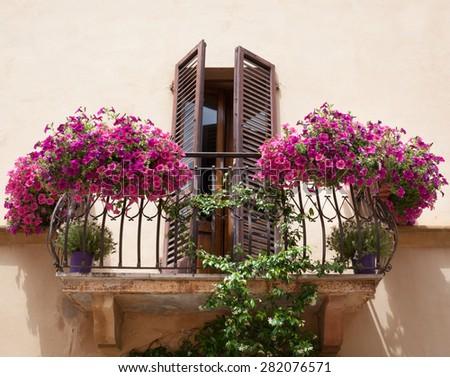 Flowers on a balcony in Pienza Tuscany, Italy. - stock photo